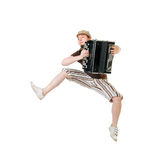 Cool musician jumping high Royalty Free Stock Images
