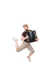 Cool musician jumping high Royalty Free Stock Photo