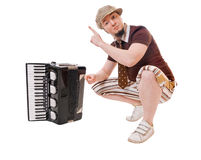 Cool musician on white Stock Images