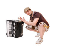 Cool musician on white Royalty Free Stock Photo
