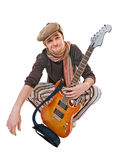 Cool musician on white Royalty Free Stock Photography