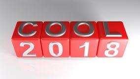 COOL 2018 na czerwonych sześcianach - 3D rendering Obraz Stock
