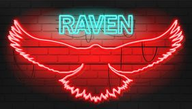 Cool Neon raven sign on brickwall. Vector illustration with neon graphic style Stock Images