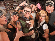 Cool Nerds with Biker Gang Stock Photography