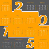 Cool new 2015 calendar design. In gray orange color Royalty Free Stock Images