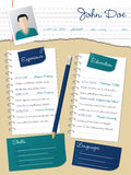 Cool new curriculum vitae resume with notepapers and pencil Royalty Free Stock Photography