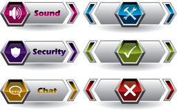 Cool new web button set. Of six with various symbols Stock Images