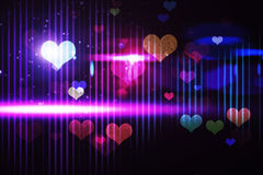 Cool nightlife design with hearts. With light Royalty Free Stock Image