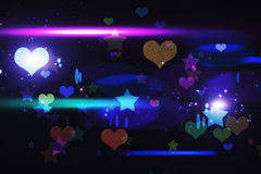 Cool nightlife design with hearts and stars Royalty Free Stock Image