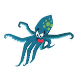 Cool octopus. Funny monster. Print. Cute vector illustration. Comic sea character Stock Image