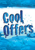 Cool offers for winter sale with icy effect. Cool offer text for both winter and summer sale, blue icy effect makes the straight message Royalty Free Stock Image