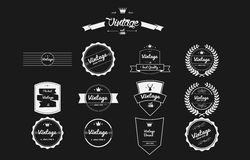 Cool and old vintage retro badges Stock Photos