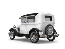 Cool oldtimer white vintage car - back side view Stock Photography
