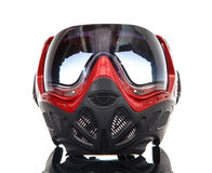 Cool Paintball Mask On Glass Surface Stock Photo