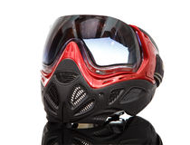 Cool paintball mask on reflective surface. On white background Royalty Free Stock Photo