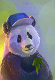 Cool panda rapper in polygonal style. Lowpoly portrait of funny panda wearing a hip-hop cap. Cool poster with colorful bear. Vector illustration eps 10 Stock Photography