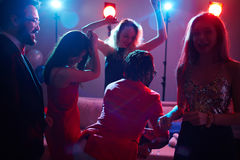 Cool party in night club stock photography