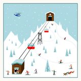Cool pastel Cartoon ski poster. The mountain resort with  lifts, slopes, skiers. Cool pastel Cartoon ski poster. The mountain resort with ski lifts, slopes Stock Image