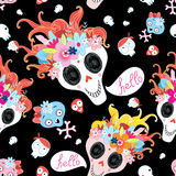 Cool pattern funny skulls Royalty Free Stock Images