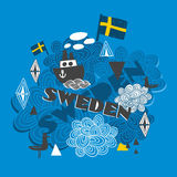 Cool pattern with swedish symbols. Stock Photos