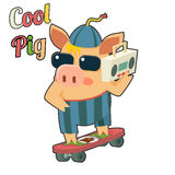 Cool Pig Sunglasses Skateboard Tape Recorder Stock Photo