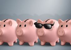 Cool piggy bank with glasses, finance concept. Piggy bank with glasses, finance concept stock photo