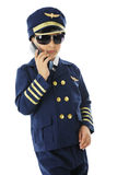 Cool Pilot on a Flip Phone Royalty Free Stock Photo