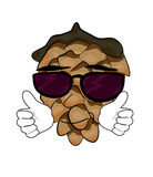 Cool pine cone cartoon character Royalty Free Stock Photo