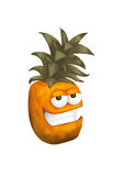 Cool pineapple. Cartoon - funny, chilled character on a white background stock illustration