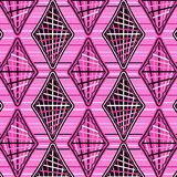 Cool pink diamonds in a pattern over horizontal stripes. Elegant modern pink repeating pattern of stripe decorated diamonds and rhombuses over horizontal stripes royalty free illustration