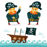 Cool pirate collection. Funny pirate character and sea background Royalty Free Stock Images