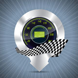 Cool pointer with speedometer and race flag Royalty Free Stock Photo