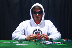 Cool poker player royalty free stock photo