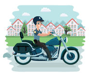Cool police officer character sitting on motorcycle. Vector flat cartoon illustration vector illustration