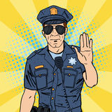 Cool Policeman. Serious Police Officer. Pop Art. Vector illustration Stock Photo