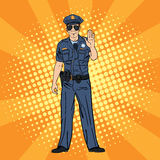 Cool Policeman. Serious Police Officer. Pop Art. Vector illustration Stock Photography