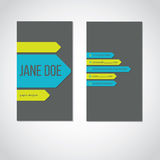 Cool portrait business card with color arrows Stock Photography