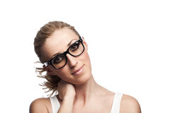 Cool portrait of a young woman in glasses Royalty Free Stock Photo