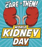 Pop Art Design to Commemorate the World Kidney Day, Vector Illustration. Cool poster in pop art style with colorful kidneys promoting care about renal issues in Royalty Free Stock Photo