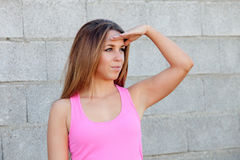 Cool pretty woman looking at side Royalty Free Stock Photos