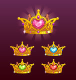 Cool princess crowns set. Cool golden princess crowns set. Vector icons Stock Photo