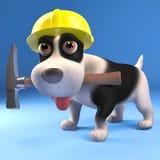 Cool puppy dog builder wearing a safety helmet and holding his hammer, 3d illustration. Render vector illustration