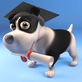 Cool puppy dog in mortar board has graduated with his diploma scroll, 3d illustration. Render royalty free illustration