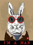 Cool rabbit retro. Print vector art background,print,or illustration Royalty Free Stock Image
