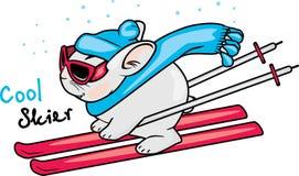 Cool rabbit on skis. Illustration Stock Photos