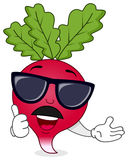 Cool Radish with Sunglasses & Mustache Royalty Free Stock Photos