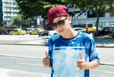 Cool rapper with baseball cap in the city Stock Images