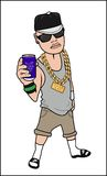 Cool Rapper. Cool Rappper with Big Gold Necklace Stock Images