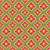 Cool red blossom checked  pattern Stock Photo