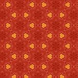 Cool red floral textured seamless pattern with orange elements in a symmetrical design stock illustration